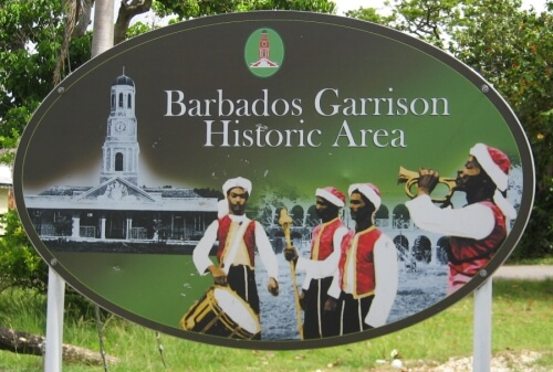 Sign for Barbados Garrison Hiistoric Area